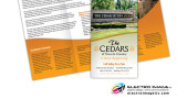 Senior living at it's finest!  The Cedars contacted us to re-create their informational brochure to a contemporary look.  This tri-fold is a perfect information piece for future tenants to reference at their leisure.