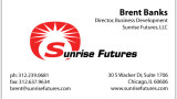 Sunrise Futures business card with thermography. Adjusted logo for thermographics.