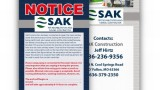 SAK Construction Notification Door Hanger