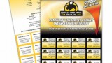 Fundraising 16 coupon fold-over - Buffalo Wild Wings Fundraising perforated tear off ticket