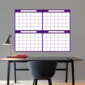 F69-01533_4_Month_Dry_Erase_Calendar_Purple_LtPurple